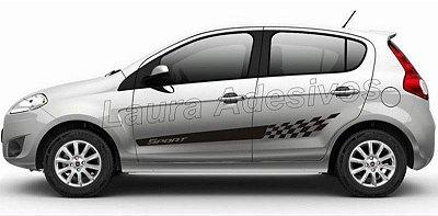Kit Adesivo faixa lateral tuning Fiat Novo Pálio modelo Sport SRT Fita Colante