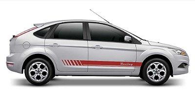 Kit Adesivo faixa lateral tuning Focus G2 hatch e Sedan modelo Racing listrada SRT WOLF 1