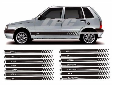 Adesivo Lateral Uno 14 Modelos a Escolher SX EP Sport Economy ELX Fire Entre Outros Fita Colante SRT Wolf 1