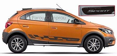 Onix e Novo PrismaAdesivo Lateral Os4 Sport Kit Faixa Adesiva Fita Colante Acessorio SRT Wolf 1 X11Auto