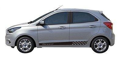 Kit adesivo faixa lateral Fita Ford Novo KA E KA + Modelo SPORT G3 SRT Wolf 1