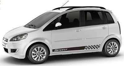 adesivo Faixa lateral tuning Fiat Idea todos os anos modelo Sport Fita Colante SRT Wolf 1