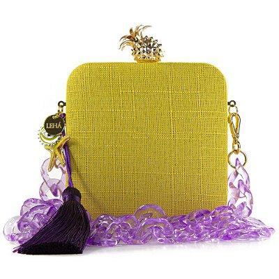 Bolsa Festa Clutch Feminina Transversal Amarela Corrente