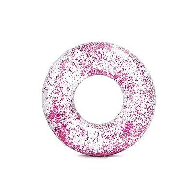 Boia Transparente Redonda Circular Com Glitter Rosa 85 cm