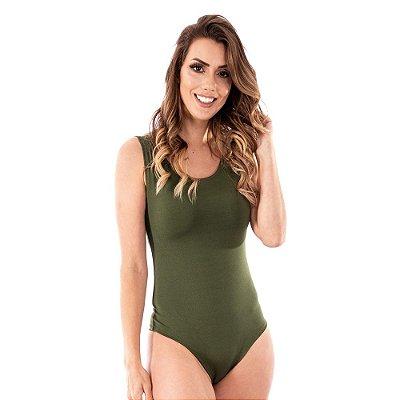 Body Feminino Maiô Decotado Suplex Liso Ginástica Verde