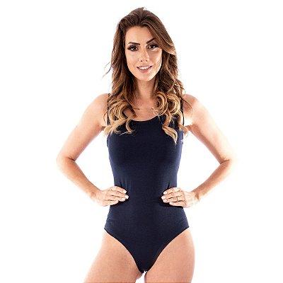 Body Feminino Maiô Decotado Suplex Liso Ginástica Azul