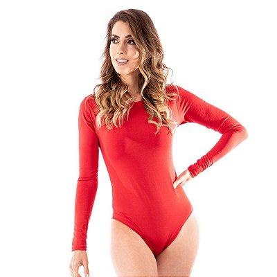 Body Feminino Manga Longa Costa Nua Inverno Frio Vermelho