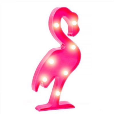 Luminária Abajur Enfeite de Festa Led Flamingo Rosa 30 Cm