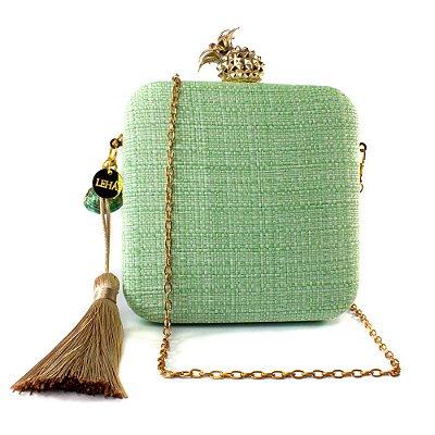 Bolsa Pequena Clutch Festa Mini Bag Quadrada Verde Concha