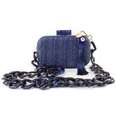 Bolsa Pequena Clutch Festa Mini Bag Azul Olho Grego Balada
