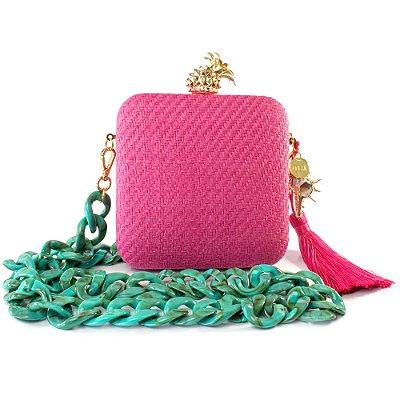 Bolsa Pequena Clutch Festa Mini Bag Rosa Concha Abacaxi