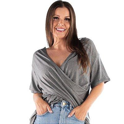Camiseta Blusa Bluzinha Bata Transpassada Manga Curta Feminina Básica Decotada Blogueira
