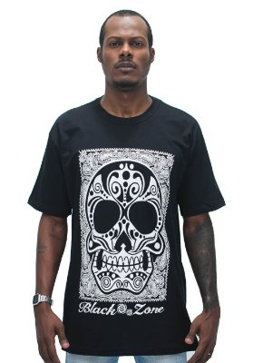 T SHIRT BLACK ZONE CAVEIRA MEXICANA