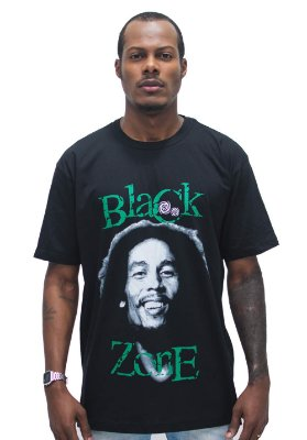 T SHIRT BLACK ZONE BOB MARLEY