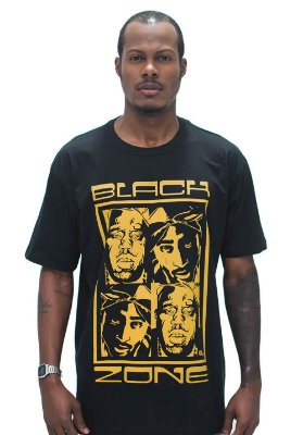 T SHIRT BLACK ZONE HIP HOP TUPAC / NOTORIOUS BIG
