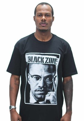 T SHIRT BLACK ZONE MALCOM X