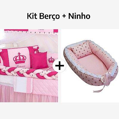 Kit Berço Trança Coroa Pink + Ninho Redutor Coroa Rosa