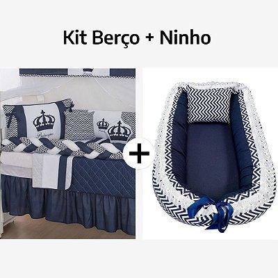 Kit Berço Trança Coroa Marinho + Ninho Redutor Chevron Marinho