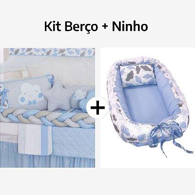 Kit Berço Trança Nuvem Azul Bebê + Ninho Redutor Nuvem Azul