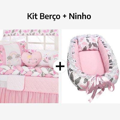 Kit Berço Trança Arco-Íris + Ninho Redutor Nuvem Rosa