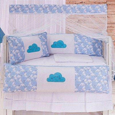 Kit Mini Berço Nuvem Azul 07 Peças
