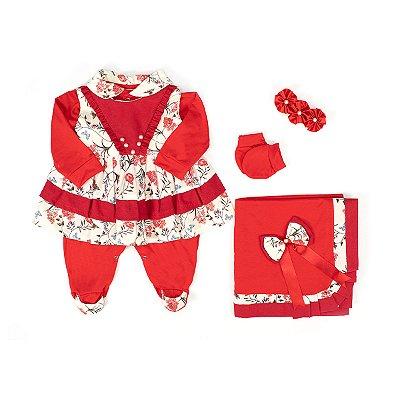 Saída Maternidade Anny Vermelha Floral 5 Peças