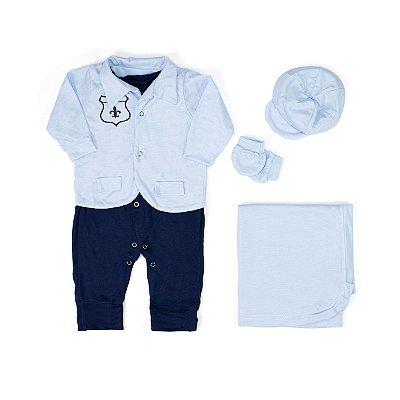 Saída Maternidade Artur Azul Bebê Com Marinho 5 Peças
