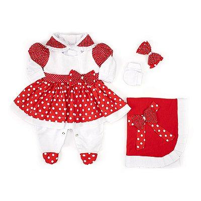 Saída Maternidade Charmosa Vermelha Poá 5 Peças