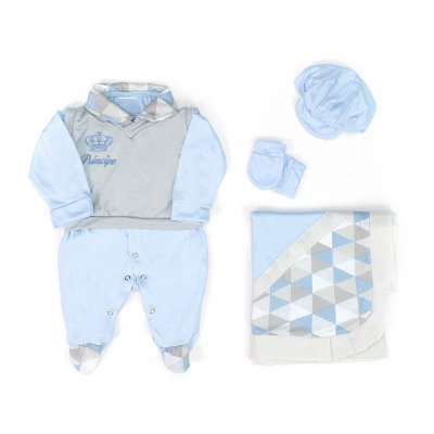 Saída Maternidade Gabriel Azul Bebê 5 Peças