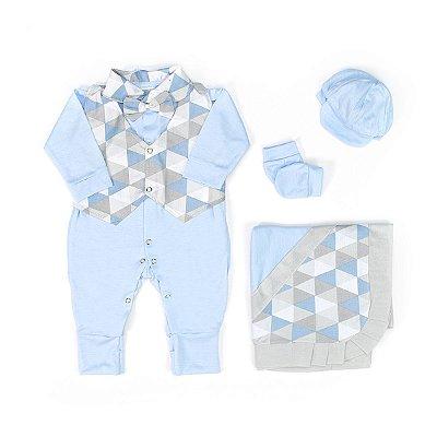 Saída Maternidade Pequeninos Alteza Azul Bebê 5 Peças