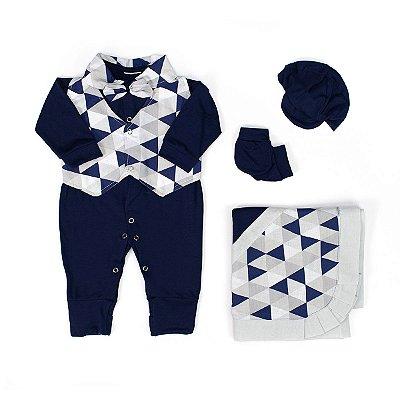Saída Maternidade Pequeninos Alteza Azul Marinho 5 Peças