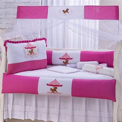 Kit Berço Aconchego Carrossel Pink 10 Peças