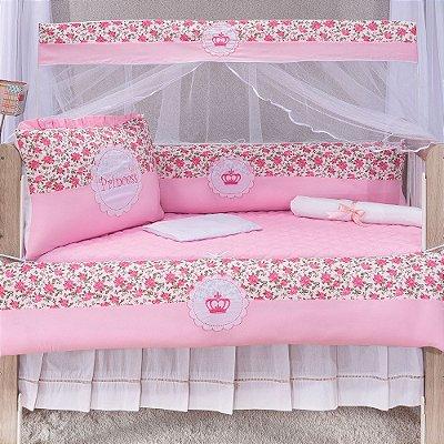 Kit Berço Luxo Princesa Rosa 10 Peças