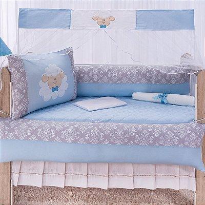 Kit Berço Luxo Ovelha Azul 10 Peças