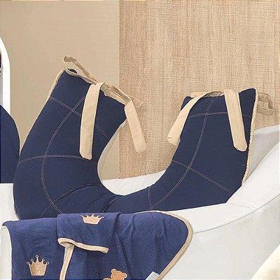 Almofada Amamentação Com A Inicial Do Bebê Luxo Azul Marinho