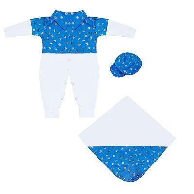Saída Maternidade Marinheiro Azul Bebê 3 Peças