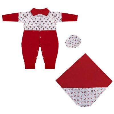 Saída Maternidade Marinheiro Vermelho 3 Peças