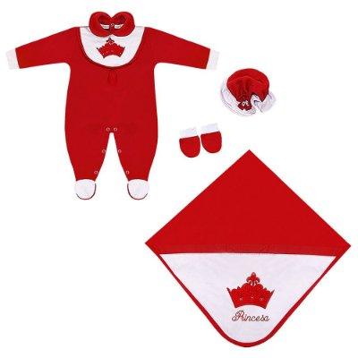 Saída Maternidade Princesa Vermelha 4 Peças