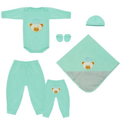 Saída Maternidade Ursinho Realeza 5 Peças