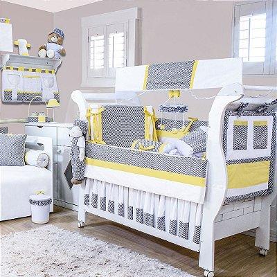 Quarto De Bebê Sem Cama Babá Chevron Amarelo