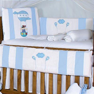 Kit Berço Balão Mágico Azul Bebê 10 Peças