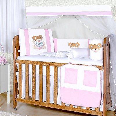 Kit Berço Bebê Rosa 10 Peças