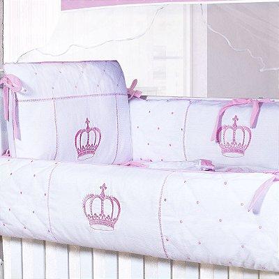 Kit Berço Coroa Real Rosa 9 Peças