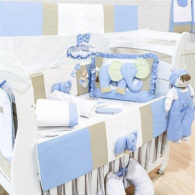 Kit Berço Elefante Azul Bebê 09 Peças