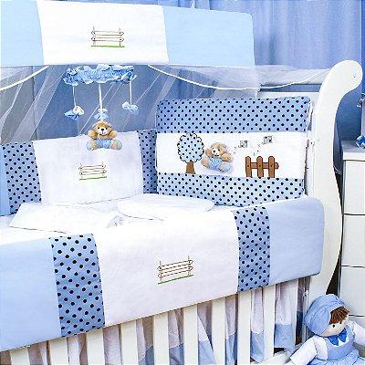Kit Berço Fazendinha Azul Bebe 9 Peças