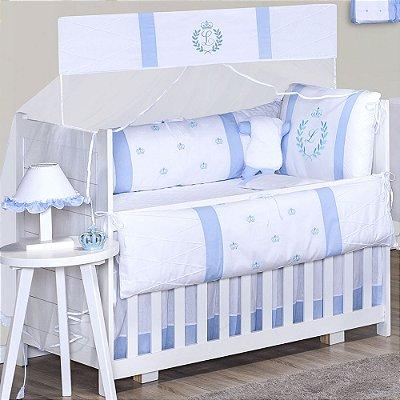 Kit Berço com a Inicial do Bebê Bordada Azul Bebê