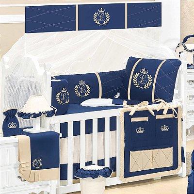 Kit Berço com a Inicial do Bebê Bordada Luxo Azul Marinho