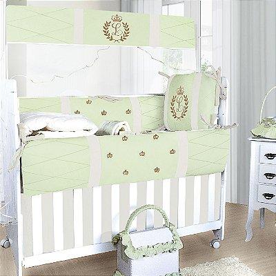 Kit Berço com a Inicial do Bebê Bordada Luxo Verde