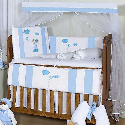 Kit Berço Menino Sapeca Azul Bebê 10 Peças