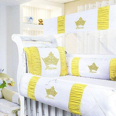 Kit Berço Princesinha Amarelo 9 Peças